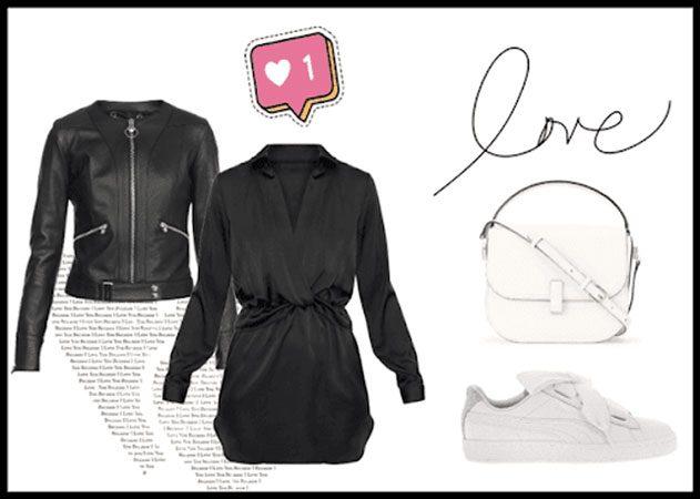 vestido negro y deportivas